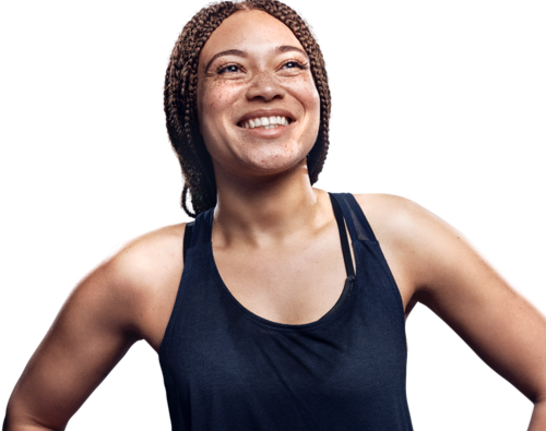 Woman smiling in victory pose